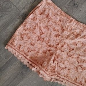 Ann Taylor Lace Shorts Peach Scallop Floral 14